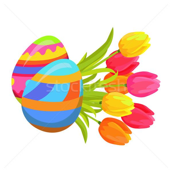 Beautifully Colored Eggs and Festive Tulips Art Stock photo © robuart