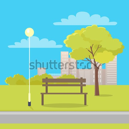 Bench Isolated between Green Tree and Lantern Stock photo © robuart