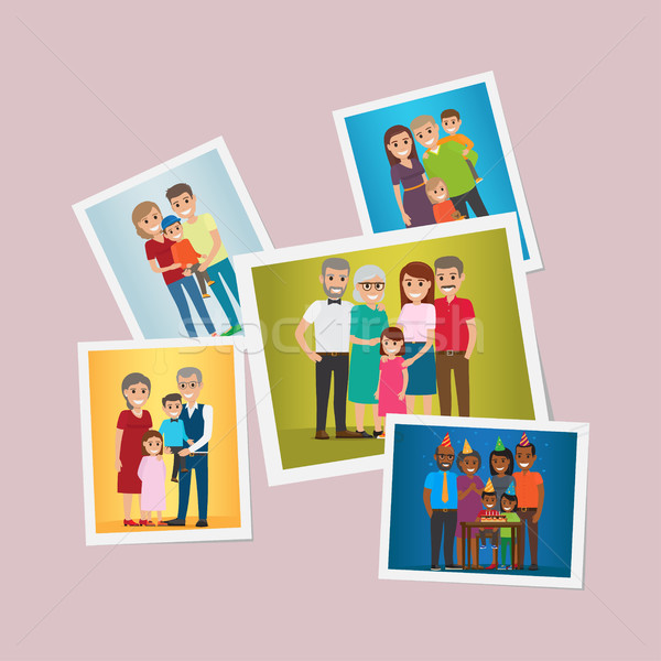 Happy Family Pinned Portraits Flat Vectors Set Stock photo © robuart