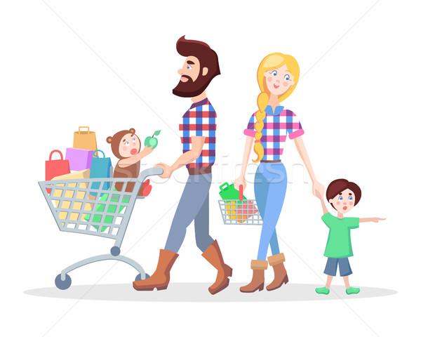 ada10fa635a64 Family Shopping Cartoon Flat Vector Concept vector illustration ...