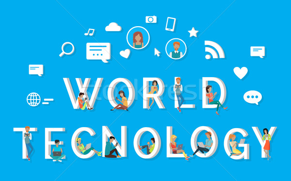 World Technology People Using Phones on Letters Stock photo © robuart
