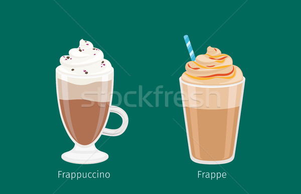 Frappuccino and Frappe in Glass Cups on Green Stock photo © robuart