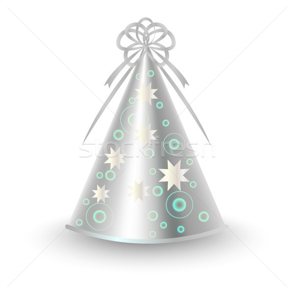 Silver Party Hat with Ribbon Bow and Stars Vector Stock photo © robuart