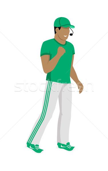 Cartoon icono árbitro verde blanco uniforme Foto stock © robuart