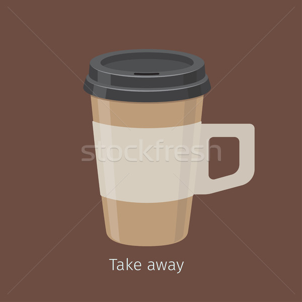 Take Away Coffee in Paper Cup with Lid Flat Vector Stock photo © robuart
