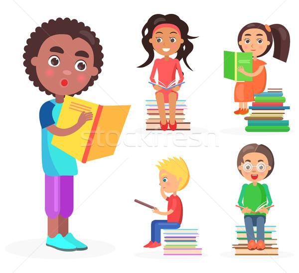 Stok fotoğraf: Afrika · erkek · kitap · okuma · çocuklar · sarı