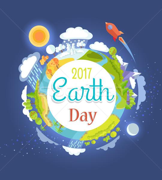 Día de la tierra anunciante ilustración planeta brillante Foto stock © robuart