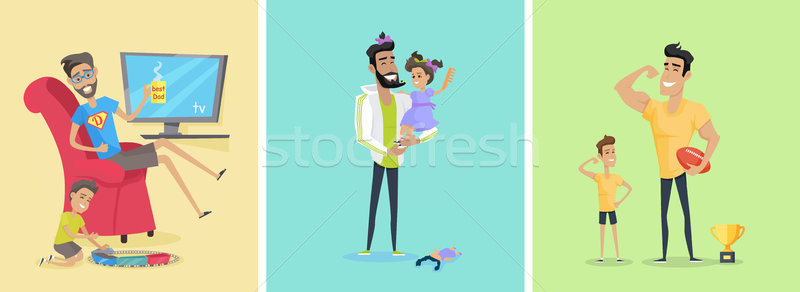 Stock photo: Set of Fatherhood Theme Concept illustrations.
