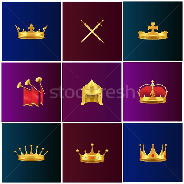 Royal Gold Medieval Attributes Illustrations Set Stock photo © robuart