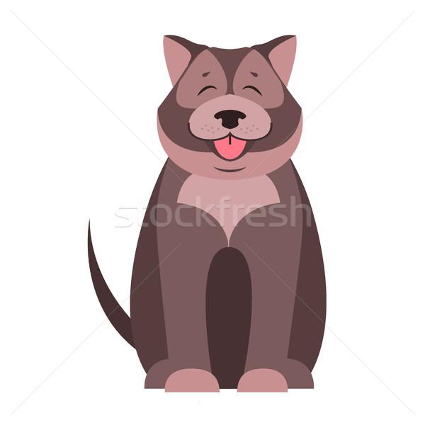 Cute psa cartoon wektora ikona szczęśliwy Zdjęcia stock © robuart
