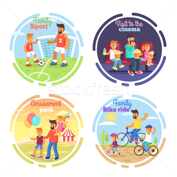Dad celebrating Fathers Day with Children Poster Stock photo © robuart