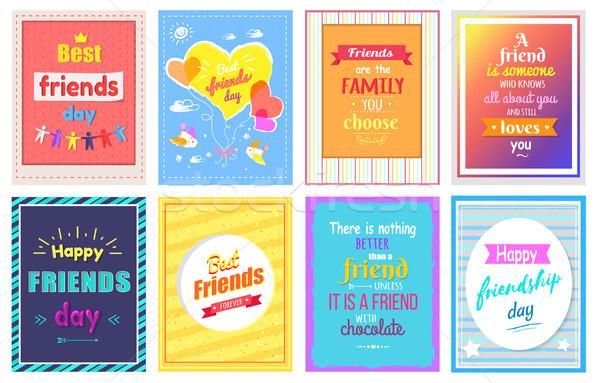 Szczęśliwy przyjaźni dzień powitanie karty kolorowy Zdjęcia stock © robuart
