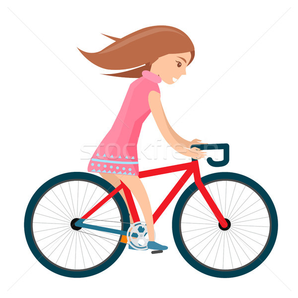 Girl in summer clothes rides bike isolated on white Stock photo © robuart