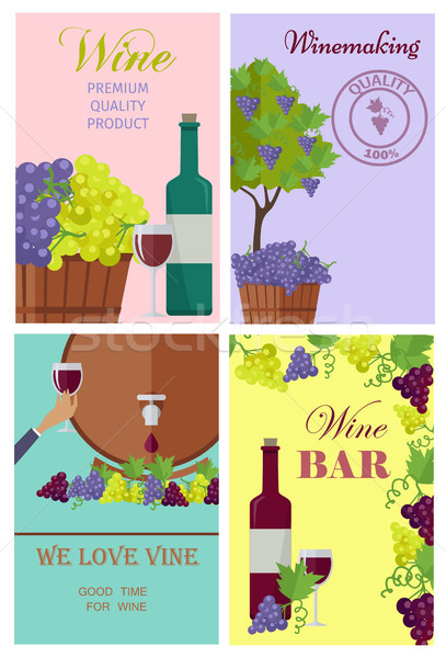 Winemaking and Wine Bar Promotional Posters Set Stock photo © robuart