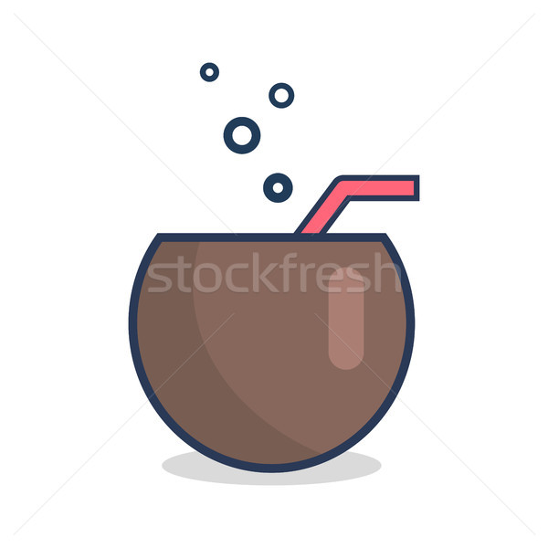 Cocktail in Half of Coconut with Straw and Bubbles Stock photo © robuart