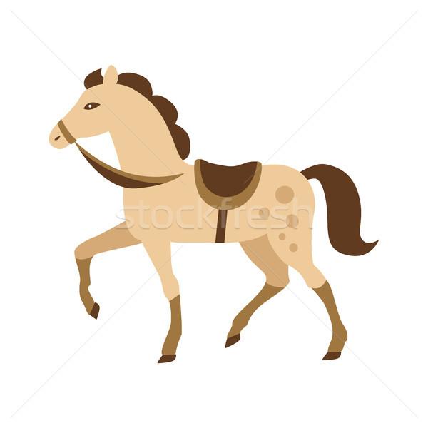Foto stock: Desenho · animado · cavalo · isolado · branco · bege · pónei
