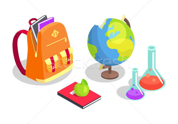 School Backpack Full of Books, Chemical Flasks Stock photo © robuart