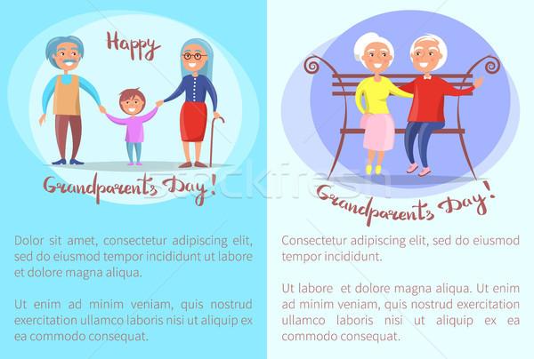 счастливым дедушка и бабушка день старший пары коллекция Сток-фото © robuart
