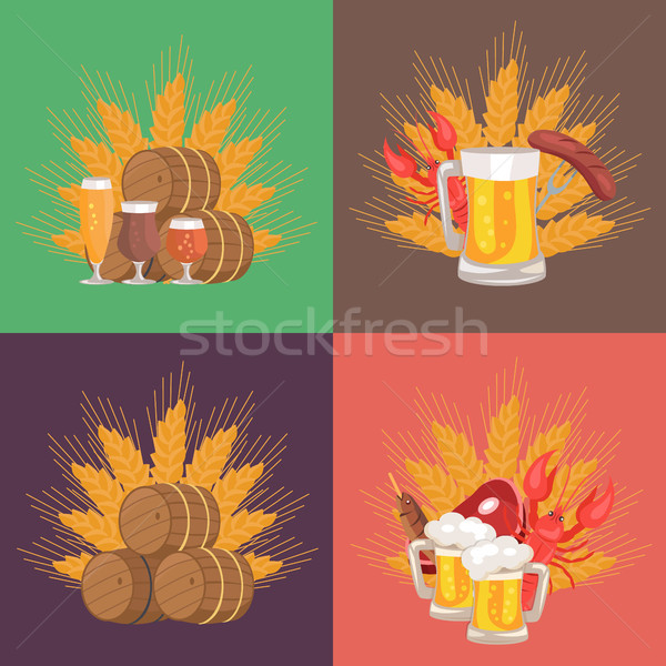 Four Sets of Beer Composition Vector Illustration Stock photo © robuart