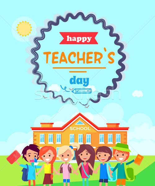 Happy Teacher s Day Wish Colorful Postcard Stock photo © robuart