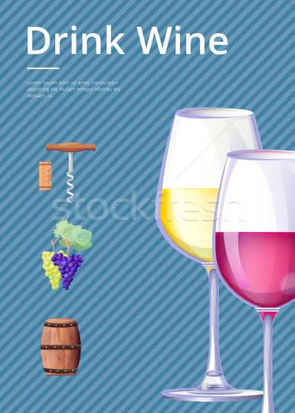 Drink Wine Poster Vector Illustration on Blue Stock photo © robuart