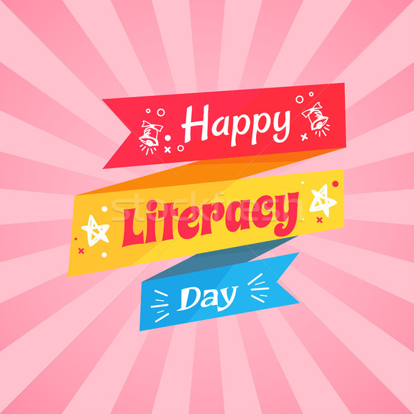 Happy Literacy Day Wish on Multicolored Doodle Stock photo © robuart