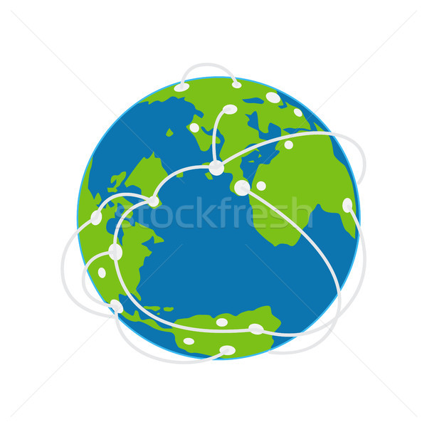 Earth Icon with Airways Plan Vector Illustration Stock photo © robuart
