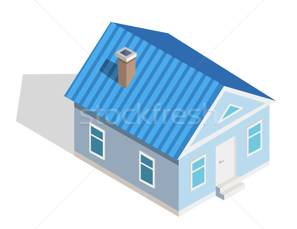 Three Dimensional Icon of Small Isometric House Stock photo © robuart