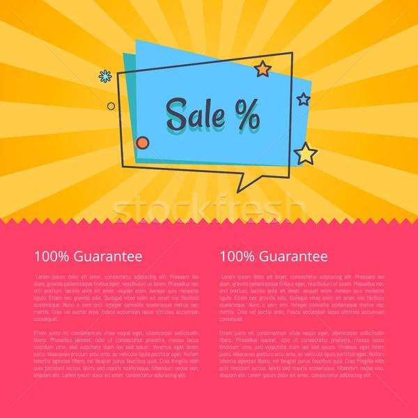 100 garantir venda bandeira praça balão de fala Foto stock © robuart