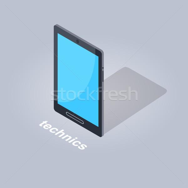 Fekete táblagép ikon árnyék terv izolált Stock fotó © robuart