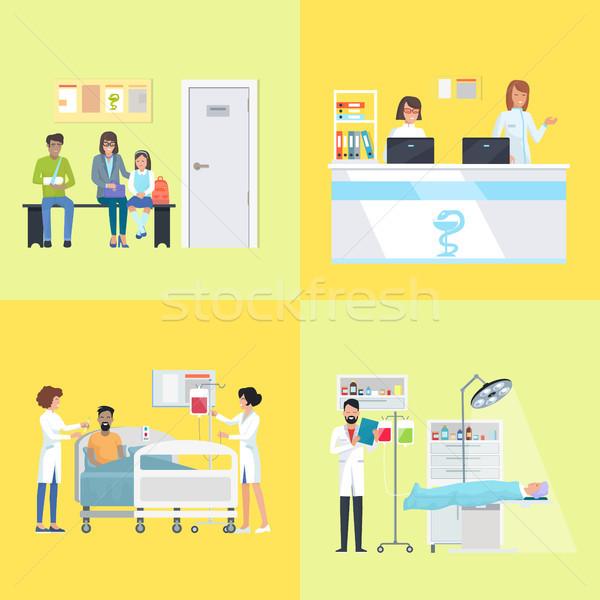 Recepción mujeres escritorio banco médico operación Foto stock © robuart