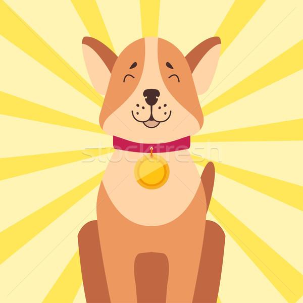 Arany érem nyak ül nyertes kutya Stock fotó © robuart
