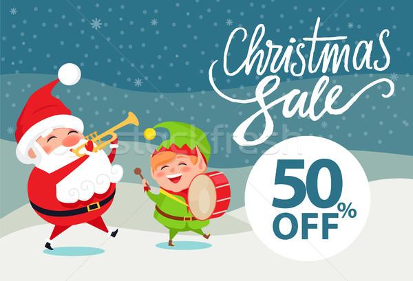 Christmas sale 50 off promo poster Santa and Elf Stock photo © robuart