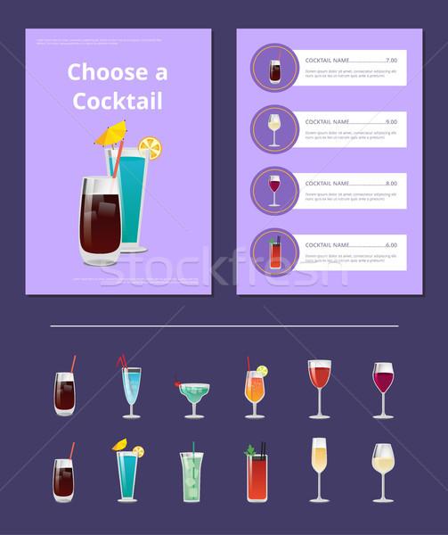 выбирать коктейль меню Бар макет алкоголя Сток-фото © robuart