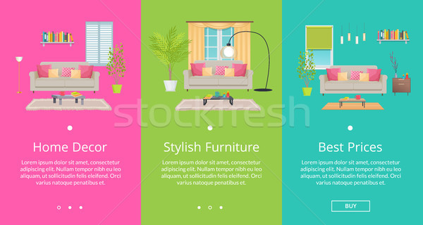 Stock photo: Home Decor, Stylish Furniture Vector Illustration