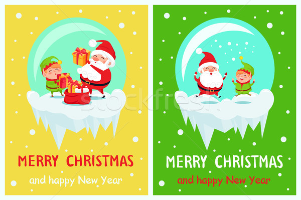 Neşeli Noel happy new year poster cin Stok fotoğraf © robuart
