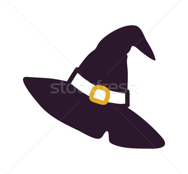 Czarny kapelusz czarownicy sylwetka odizolowany biały ciemne Zdjęcia stock © robuart