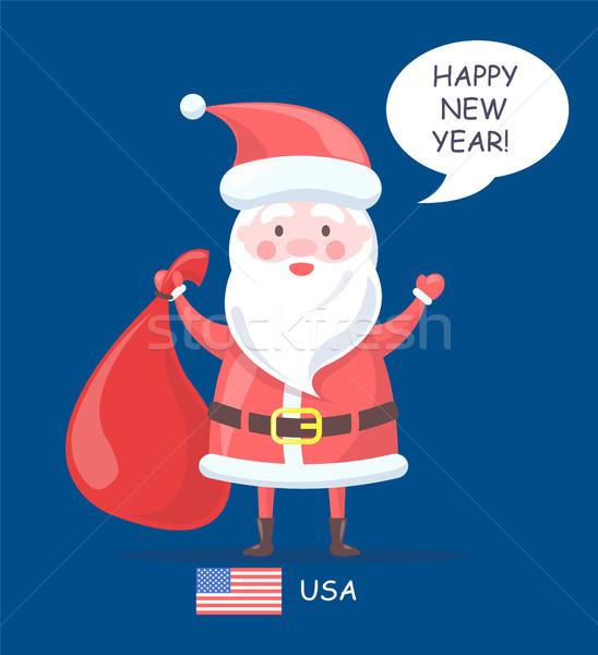 Stockfoto: Gelukkig · nieuwjaar · kerstman · poster · oude · man · armen