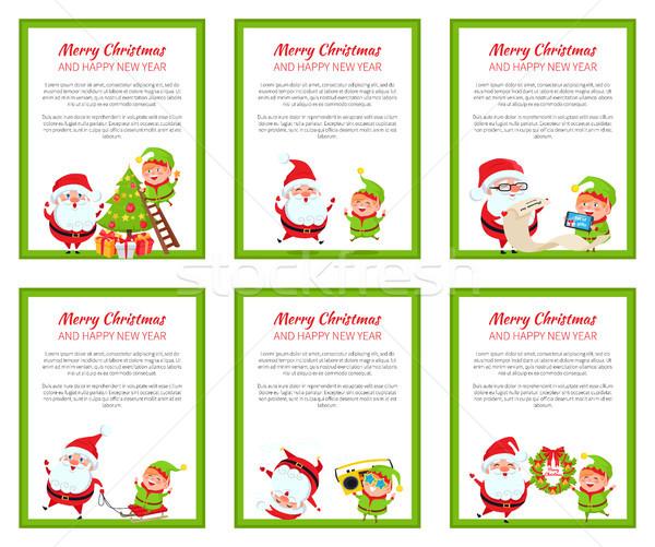 Vrolijk christmas nieuwjaar poster elf Stockfoto © robuart