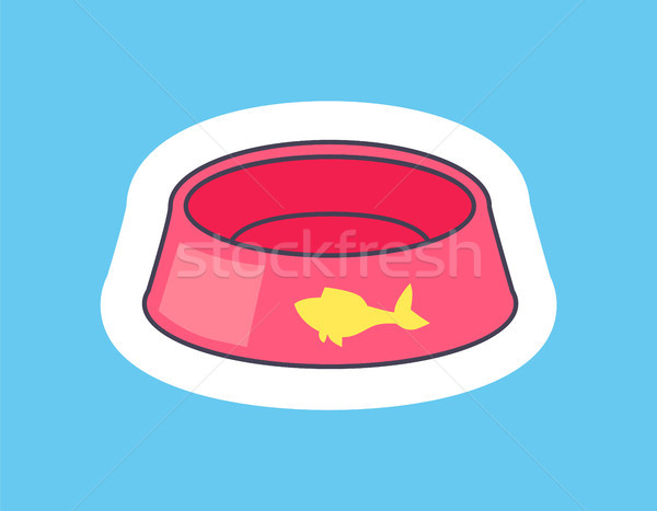 Card with Pink Bowl For Pets Vector Illustration Stock photo © robuart