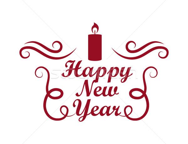 Boldog új évet plakát elemek vonalak gyertya felső Stock fotó © robuart