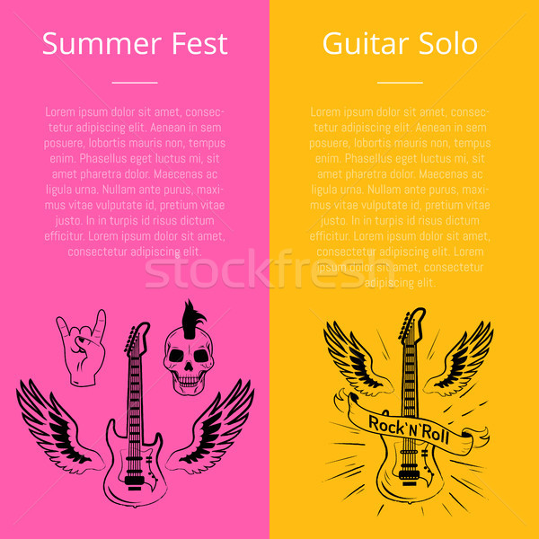 Summer Fest and Guitar Solo Collection of Banners Stock photo © robuart