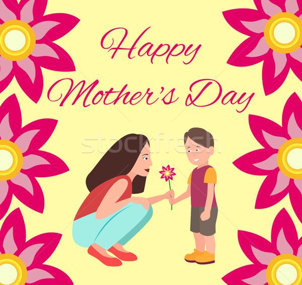 Poster oğul anne çiçek başlık Stok fotoğraf © robuart