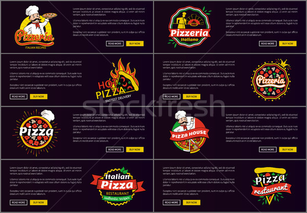Pizzeria Italian Recipes Web Vector Illustration Stock photo © robuart