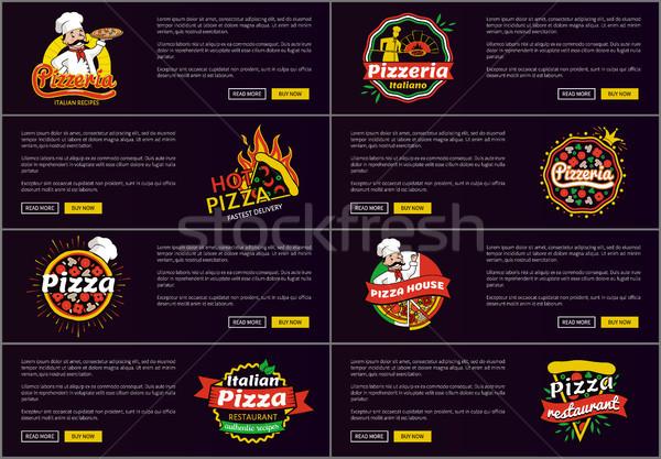Pizzeria Italiaans recepten web hot Stockfoto © robuart