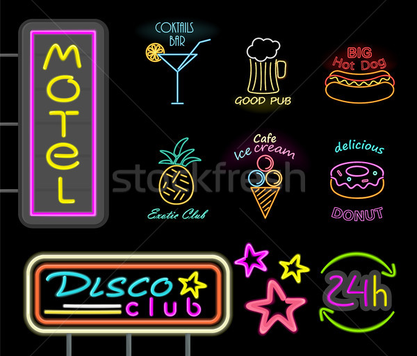 Motel disco club neón signos Foto stock © robuart