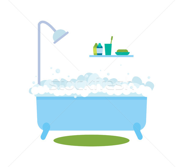 Bath with Bubbles Hot Water Vector Illustration Stock photo © robuart