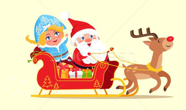 Święty mikołaj jazda konna sanie plakat śniegu Zdjęcia stock © robuart