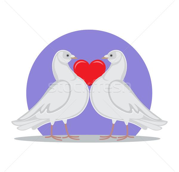 Stock fotó: Galambfélék · tart · piros · szív · szimbólum · szeretet