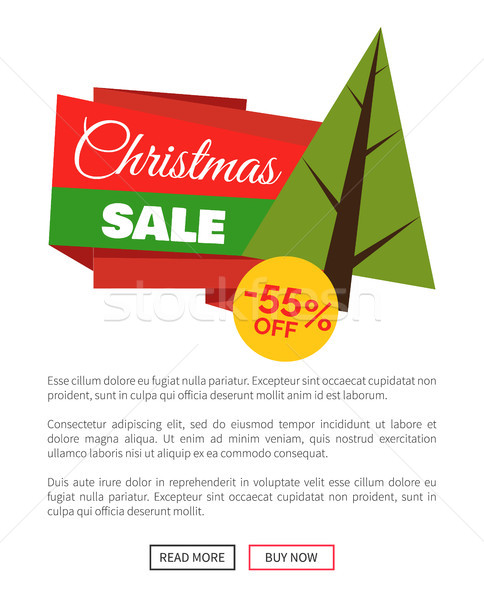 55 Off Christmas Sale Banner Vector Illustration Stock photo © robuart